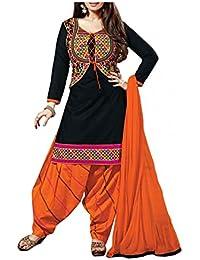 Sarees Creation Women's Faux Cotton Salwar Suit (!!#Aisha Koti_Black_Free Size)