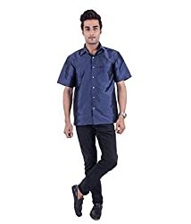 Warrior Men's Art Silk Navy Blue Shirt