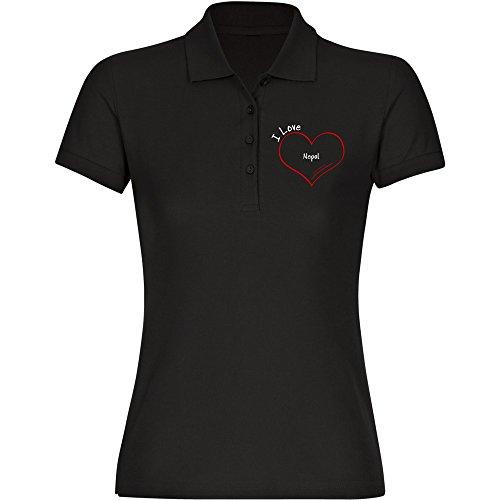 Multifanshop Poloshirt Modern I Love Nepal schwarz Damen Gr. S bis 2XL, Größe:XL