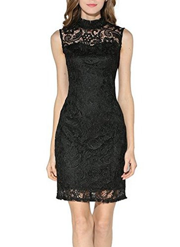 Searia Women High Neck Sleeveless Floral Lace Cocktail Clubwear Evening Dress Black M