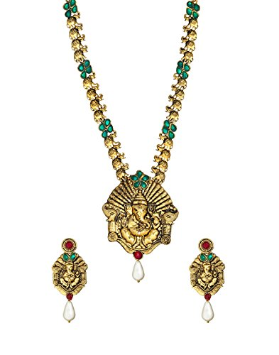 Zaveri Pearls Non-Precious Metal Gold Pendant Necklace With Earrings Set For Women
