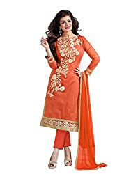 Blissta Orange Chanderi Embroidered salwar suit Dress Material