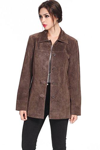 "BGSD Women's ""Anna"" Missy & Plus Size Suede Leather Car Coat - Brown Plus 2X"