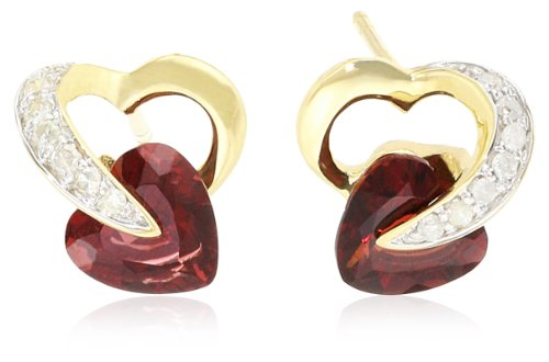 10k Gold Heart and Diamond Earrings