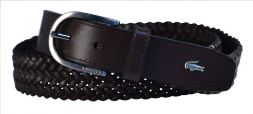 Lacoste Lacoste Men's Leather Braid Belt, Brown, 40 US