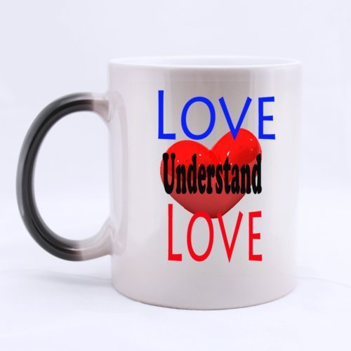 "Gift For Your Lover Cute Romantic Design ""Love Understand Love"" (Twin Side) Magic Surprise Color Changing Mug Morphing Coffee/Tea Mug (11 Oz)"