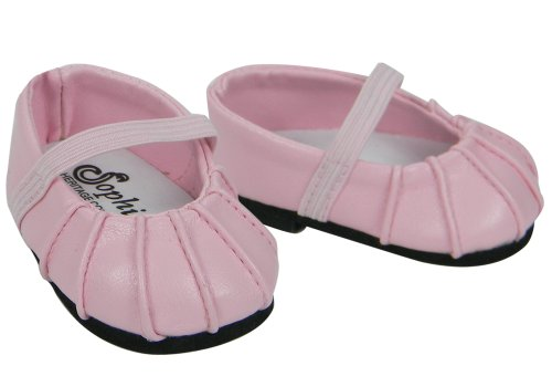 Baby Doll Shoes, Fits Bitty Baby by American Girl, Pink Ballerina Doll Flats