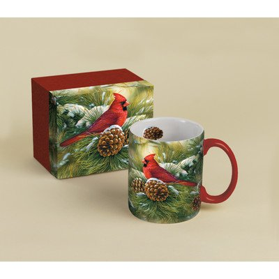 Lang December Dawn Cardinal Mug by Rosemary Millette, 14-Ounce, Multicolor