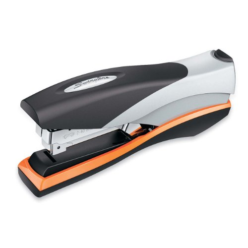 Swingline 87845 Optima Desk Stapler, 40-Sheet Capacity, Silver/Orange/Black front-485334