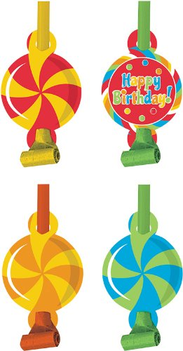 Creative Converting Sugar Buzz Birthday Party Blowouts, 8 Favors Per Package