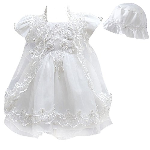 84955b606a6 Mini Kitty Baby Girl Dress 3PCS Baptism Gowns Cute Embroidery Dress