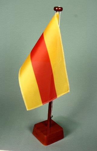 Baden-ohne-Wappen-15x25-cm-Tischflagge-M-mit-42-cm-Naturholz-Tischflaggenstnder-edle-Ausfhrung