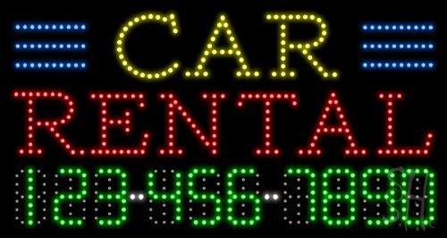 "Car Rental Animated Led Sign 17"" Tall X 32"" Wide X 1"" Deep"