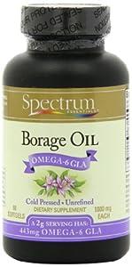 Spectrum Essentials Borage Oil, 1000 mg SoftGels, 60 Count Bottle