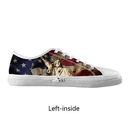 Generic American Us Flag Stripes Stars Navy Statue Of Liberty Vintage Fashion Hipster Personalized Cool Design For Custom White Round Toe Low Lace-Up Zippered Breathable Canvas Loafer Running Shoes For Men Boy (Model001)