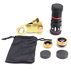 Universal 4 in 1 Lens Camera Phone Lens Kit 10X Optical Zoom Telescope Lens + Clip on Fish Eye Lens + 2 in 1 Macro Lens + Wide Angle Lens for Smart Phones (Gold)