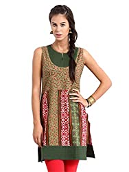 Miraaya Women's Cotton Kurti (M2052B_3342_Olive_Small)