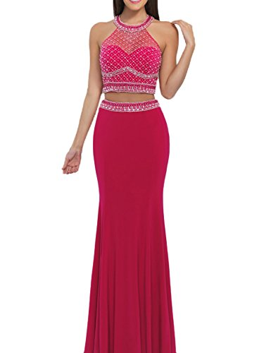 SeasonMall-Womens-Prom-Dresses-Mermaid-Two-Piece-Halter-Spandex-Tulle-Dresses