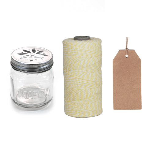 Dress My Cupcake 12-Pack Favor Kit, Includes Vintage Glass Mason Jar Sippers And Twine/Kraft Gift Tag, Ivory Light Yellow front-159773