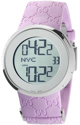 Gucci Quartz Pink Rubber Band Silver Dial - Women's Watch YA114404