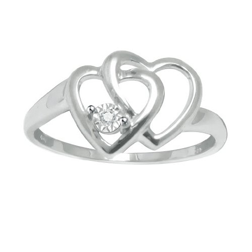Diamond Accent Platinum Plated Sterling Silver Double Heart Promise Ring