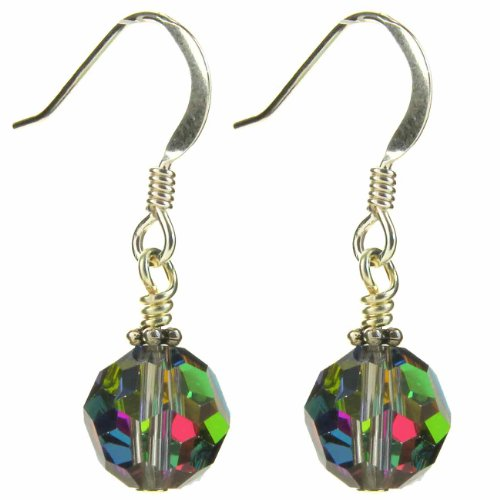 Single round Swarovski Elements multi coloured (pink, green yellow, purple) vitrail crystal drop earring on sterling silver ear wire