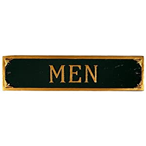 Montague Metal Products Men Restroom Plaque, 11.5 by 2.75-Inch, Hunter Green/Gold