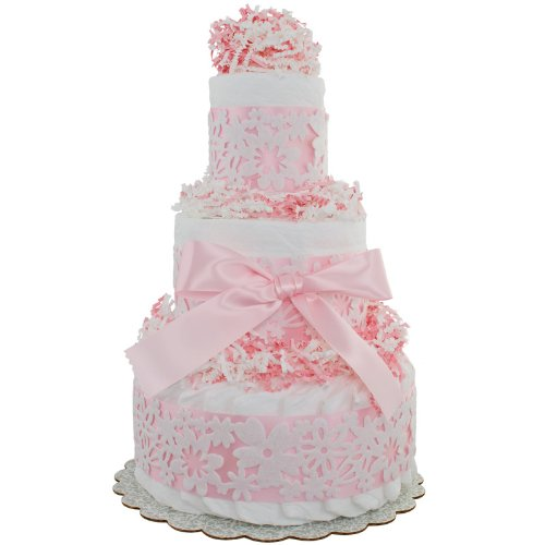 Lil' Baby Cakes Pink Lace 3 Tier Diaper Cake