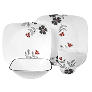 Corelle Mandarin Flower Square Round 16-Piece Dinnerware Set, Service for 4 with Mini Tool Box (fs)
