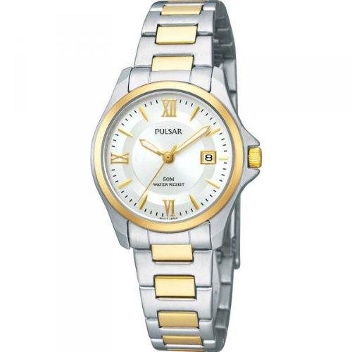 Pulsar by Seiko Ladies Silver Dial 2 Tone Bracelet Dress Watch PXT790X1