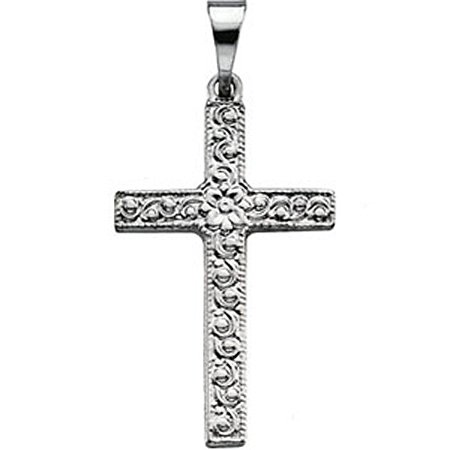 14k White Gold Christian Cross Pendant - 20mm New