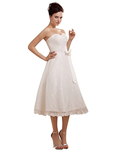 Dressesinstock Women'S A Line Sweetheart Tea Length Lace Wedding Dress 18 White