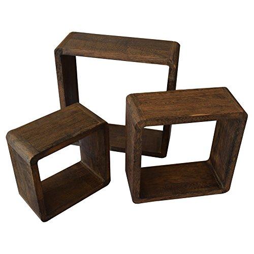 Rebecca Srl 3er Set Wandregale Regale Quadratisch Naturholz Dunkel Cube  Vintage Chic Wohnzimmer Zuhause (