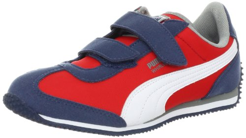 PUMA Whirlwind V Fashion Sneaker (Toddler/Little Kid/Big kid),Dark Denim/High Risk Red/White,9 M US Toddler