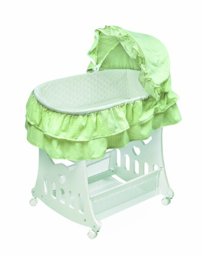 Badger Basket Portable Bassinet n Cradle with Toybox Base, Gingham, Sage