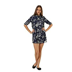 Women's Navy Blue Printed Embellished Neck Western Dress From wowww