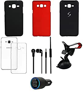 NIROSHA Cover Case Car Charger Headphone Mobile Holder for Samsung Galaxy ON5 - Combo