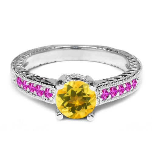 0.34 Ct Round Yellow Citrine Pink Sapphire 925 Sterling Silver Engagement Ring