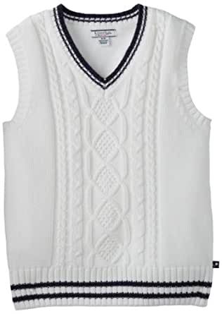 Kitestrings Big Boys' Big Cotton Solid Cable Knit Sweater Vest, White, 8/10