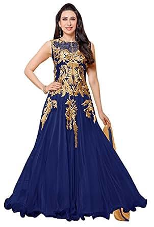 Vibes Women's Net Anarkali Style Unstich Dress Material