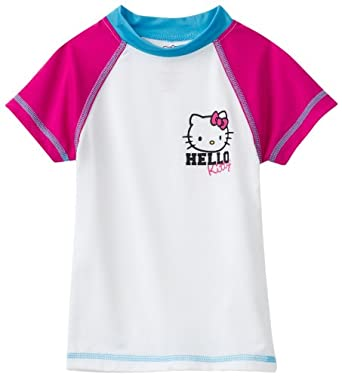 Hello Kitty Girl's 2-6X Short Sleeve Rashguard Swim Shirt, White, 6X