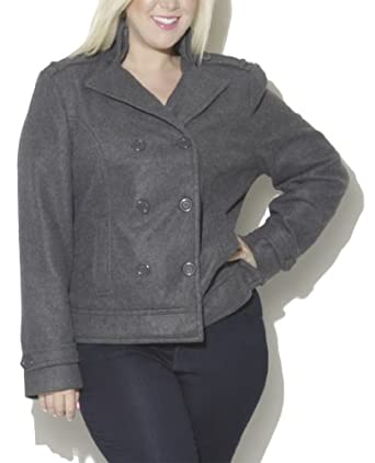 Wet Seal Women's Double Breasted Fleece Coat 3X Charcoal
