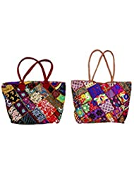 Indistar Combo Offer Women's Multicolor Cotton Handbag (Combo Pack Of 2)