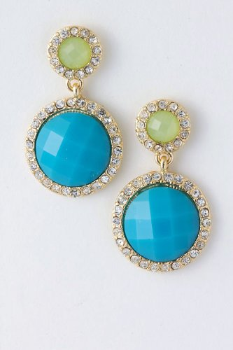 Trendy Fashion Jewelry Round Jewel Dangle Earrings By Fashion Destination | (Lt Blue)