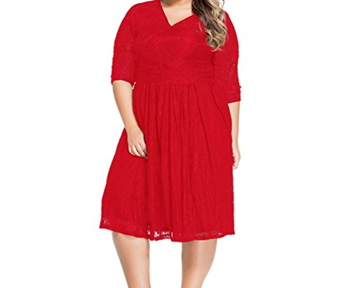[PEGGYNCO Womens Red Lace V Neck Curvy Skater Dress Size 4XL] (Xxl Santa Suits For Sale)