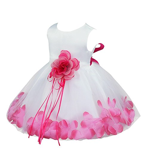Tiaobu baby girls flower petals tulle formal bridesmaid for 12 month dresses for wedding