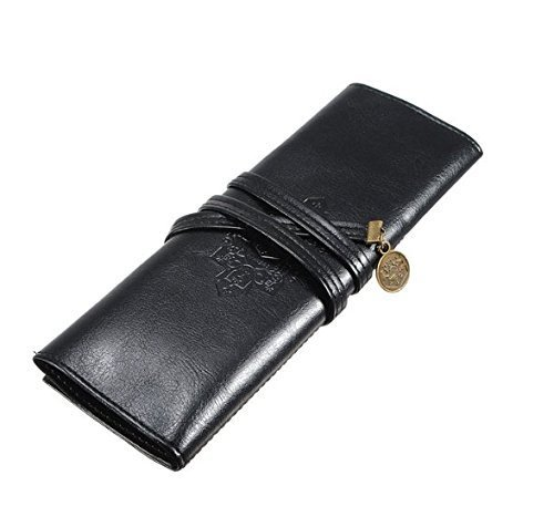JADE Onlines fashion Rollup Pencil Case PU Leather Pencil Bag