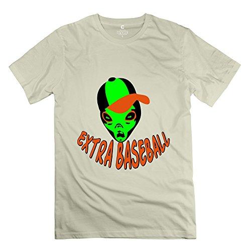 Tasy 100% Cotton Men'S Alien Extra Baseball T-Shirt - M Natural