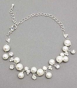 Bridal Bracelet Austrian Crystal Rhinestone Pearl White