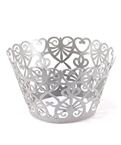 Filigree Paper Cupcake Wrappers ? Lace Hearts 8 1/4? x 1 3/4? H 21 cm x 4.5 cm H in Silver ? pkg of 12